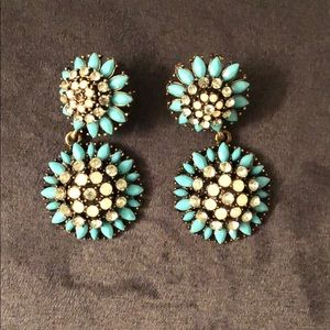 Turquoise and crystal dandelion drop earrings
